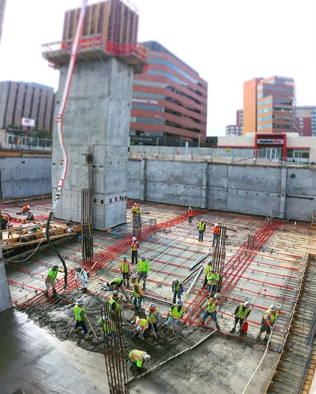 Another day, another PT deck pour. Only 2 left after today, then onto the very large 1st floor slab. (*Note this was a panoramic photo and stair core #2 really isn't leaning...or maybe it is, you be the judge.)
